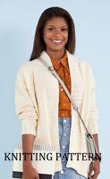 (575) Ladies Cardigan Copy Knitting Pattern, Easy Knit Design in Aran up to 3XL