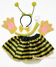 Halloween Party Kids Bumble Bee Skirt Headband Bow Tail Paw Animal Costume Set