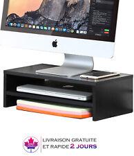 Support d'écran, Moniteur Ordinateur pour bureau avec 2 étages, Noir
