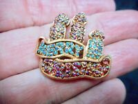 Authentic Vintage Gold Tone Merry XMAS Rhinestone Candle Motif Brooch/Pin