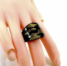 Stunning Murano Glass Black Gold Foil Ring UK Size L, US 6, EU 51.5mm, No Metal