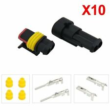 10 Kit 2 Pin Way Waterproof Electrical Wire Connector Plug BTSZUK