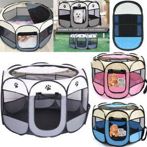 Large Foldable Fabric Dog Crate Cat Cage Pet Travel Puppy Outdoor Play Pen Tent