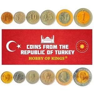 SET OF 6 COINS FROM TURKEY. 1, 5, 10, 25, 50 NEW KURUS, 1 LIRA. 2005-2008