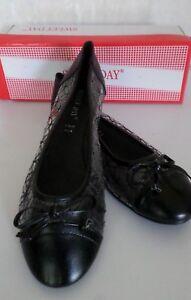 Damenschuhe Schuhe Ballerinas Schwarz mit Zierschleife durchsichtig Gr.38 NEUWA