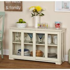 White China Hutch Cabinet Glass Front Buffet Display Storage Shelves Kitchen New