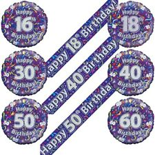Purple Streamer Birthday Balloons and Banner Decorations - Age Milestones