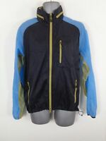 MENS NIKE BLACK/BLUE/BEIGE ZIP UP HOODED LIGHTWEIGHT ACTIVE SPORTS JACKET MEDIUM