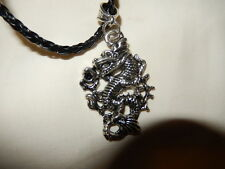 Pendant - Powerful Silver Plated Dragon on Black Plaited Leather Cord
