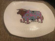 1970s BEEFEATER STEAK & GRILL COW BULL  PLATE BLUE PINK RETRO VINTAGE