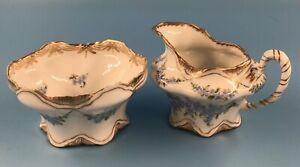 Antique 1894-1896 Franziska Hirsch Floral Dresden Porcelain Creamer & Sugar Bowl