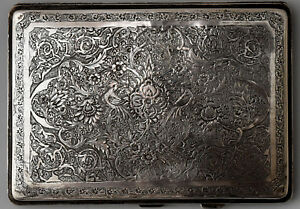 Exquisite Antique Silver Very Detailed Hand Engraved Cigarette Case