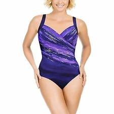 0ab747d002 NEW WOMENS 14 MIRACLESUIT ONE PIECE SWIMSUIT SUIT UNDERWIRE GLITTERATI  EGGPLANT