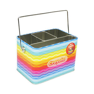 Crayola Caddy Organizer Holder Tin with Handle (Empty) for Crayons Markers Pens