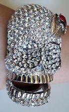 Fashion Silver & Hematite Finish Bling Skull With Leaf & Ladybug Bangle Bracelet