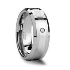 Tungsten Ring With Diamond Gautier Palladium Inlaid Beveled