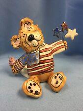 Vtg Blue Sky Claywork Patriotic Bear Tealight Holder, Goldminc July 4! Orig Tag