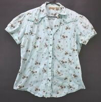Wrangler Women's Size Large Floral Print Short Sleeve Pearl Snap Shirt Blouse