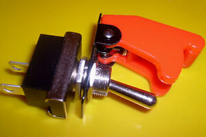 FLIP  UP  AIRCRAFT  STYLE  COVER  &  TOGGLE  SWITCH RED