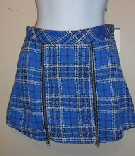 Beautees Girls Plaid Double Zipper Scooter Skirt M/10-12 + Knee High Socks M NWT