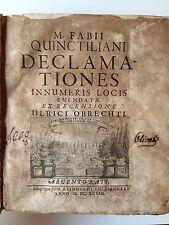 "LIBRO ANTICO LEGATURA IN MEZZA PERGAMENA DEL 1800 ""DECLAMATIONES"" 1698"