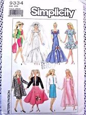 9334 SEWING PATTERN~1989~BARBIE DOLL CLOTHES:EVENING GOWN&POODLE SKIRT++