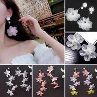 Fashion Flowers Crystal Rhinestone Tassel Dangle Earrings Ear Stud Women Jewelry