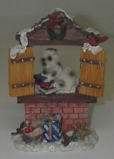 CHRISTMAS Village Accessory Dog Doggie in the Window Puppy Resin 4 1/4""