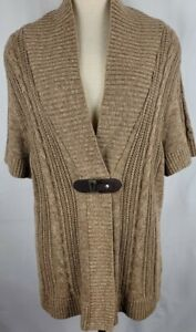 CJ Banks Womens Size 1X Heathered Brown Short Sleeves Cardigan Sweater