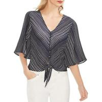 Vince Camuto Womens Navy Striped Tie Front Button-Down Top Blouse L BHFO 0923