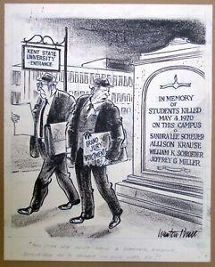 Newton Pratt Original Political Newspaper Cartoon Art: Kent State, May 1970