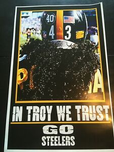 """PITTSBURGH STEELERS """"IN TROY WE TRUST"""" POSTER 11X17 TROY POLAMALU"""