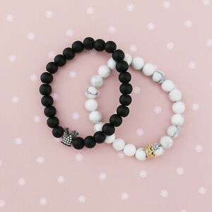 2x Love Couple Jewelry King Queen His Hers Set Crown Marble Bracelet Lovers Gift