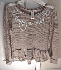 "NWOT Girl's KANDY KISS top/blouse w/ruffles long sleeve M ""Love is Wild"" stripe"