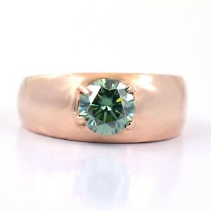 1.20 Ct Certified Blue Diamond Band Ring In Rose Gold, Excellent Cut & Luster !