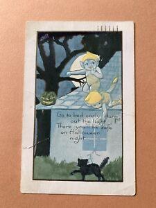 Antique 1920's Halloween goblins with black cat postcard