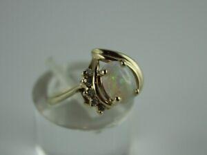 Ring Gelbgold Gold 585 (14K) Opal & Brillanten 0.10 ct. - Ø 16,5 mm - 2,44 g