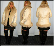 Chosen Lambskin Leather Jacket Fox Fur Trim and Fur Cuffs Size Medium 6 8 M