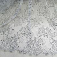 1 Yard Graceful Eyelash high-end big-name catwalk model two-color eyelash wedding dress  Lace Fabric 59 Inches Wide for Dress Veil Costume