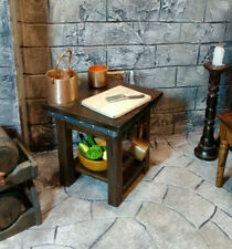 Small Medieval Tudor Walnut Work Table Island Dollhouse Miniature 1:12 Artisan