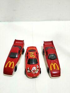 (3) Vtg Mattel Hot Wheels McDonald's Happy Meal Red racing car vehicle toy lot