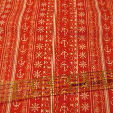 Vtg 70s Cotton Fabric Canvas RED nautical anchors stripe rows BTHY half yard