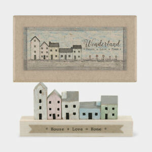 East of India MINI Rustic Wood House+Love=Home Ornament Decoration Boxed 11x5cm