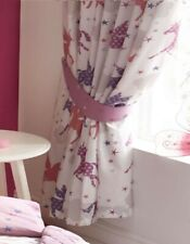"""Unicorns and Stars Curtains 54s - Magical, Pink, Purple (72"""" drop x 66"""" wide)"""