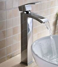 Tall Waterfall Basin Tap Mixer Faucet Bathroom Mono Lever Sink Chrome Tap