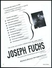 1959 Joseph Fuchs photo Usa violin recital tour booking trade print ad
