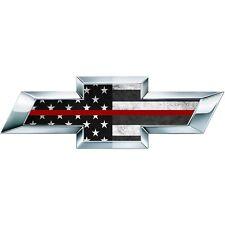 2 Thin Red BW American Flag Silverado US Universal Chevy Vinyl Emblem Overlay