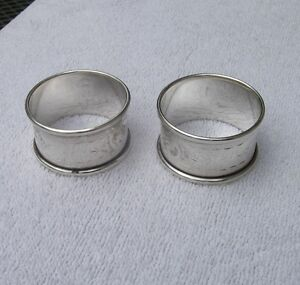 PAIR Vintage ENGLISH Sterling NAPKIN RINGS-Engraved Sides-JT&S-Birmingham 1921-2