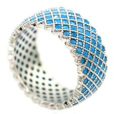 Stunning Blue Turquoise Ladies Party Silver Ring 7.5