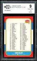 1986-87 Fleer #132 Checklist 1-132 Card BGS BCCG 9 Near Mint+